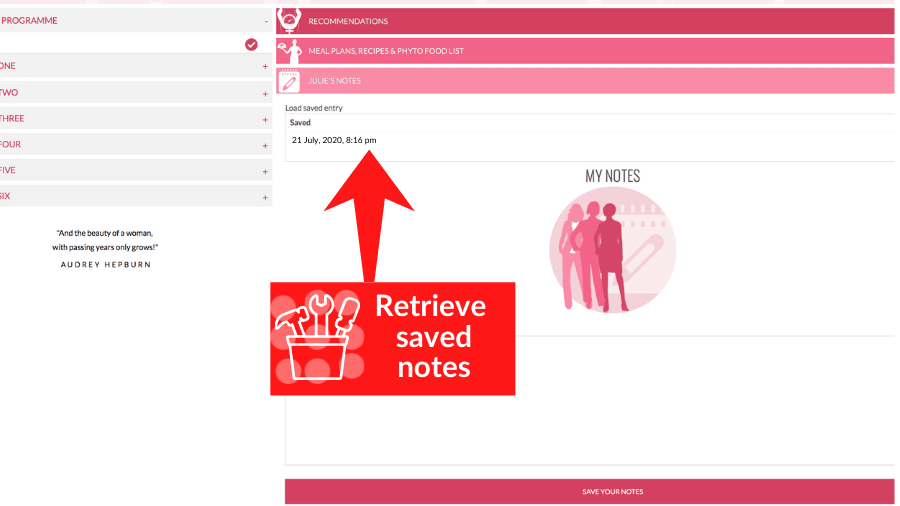 Retrieve your saved notes by date.