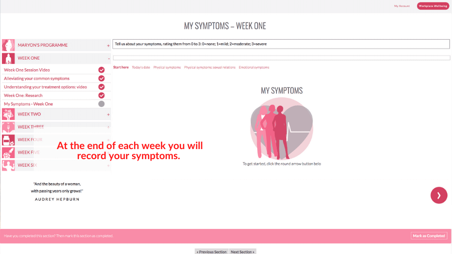 My Symptoms Section